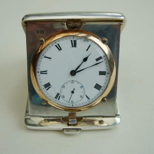 Silver Travel Clock by Wilsdorf and Davis image-1