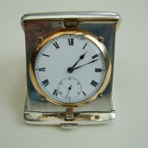Silver Travel Clock by Wilsdorf and Davis