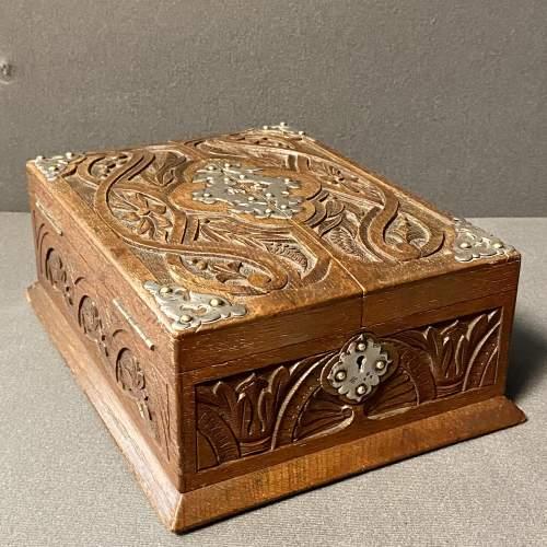 19th Century Silver and Oak Jewellery Box image-2