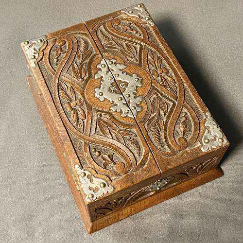 19th Century Silver and Oak Jewellery Box image-1