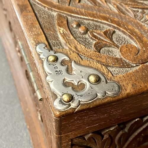 19th Century Silver and Oak Jewellery Box image-3
