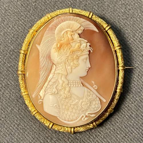 19th Century Shell Cameo Brooch of Athena image-1