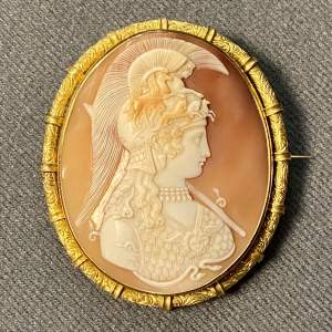 19th Century Shell Cameo Brooch of Athena