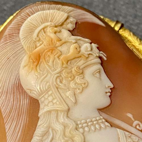 19th Century Shell Cameo Brooch of Athena image-2