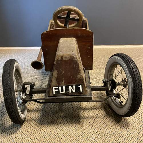 Old Wooden Childs Toy Tandem Pedal Car image-2