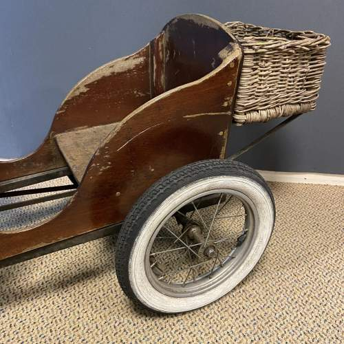 Old Wooden Childs Toy Tandem Pedal Car image-3