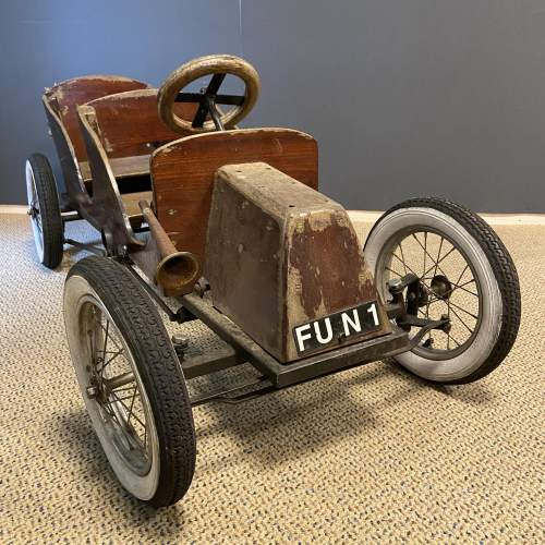 Old Wooden Childs Toy Tandem Pedal Car image-1