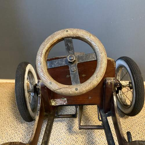 Old Wooden Childs Toy Tandem Pedal Car image-4
