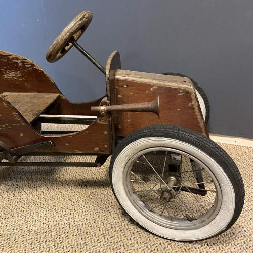 Old Wooden Childs Toy Tandem Pedal Car image-5