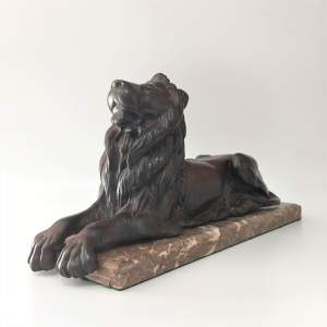 Bronze Lion on Marble Base Circa 1930s