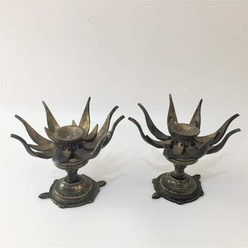 Pair of Bronze Lotus Flower Incense Burners image-1