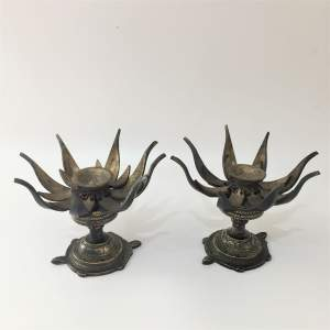 Pair of Bronze Lotus Flower Incense Burners