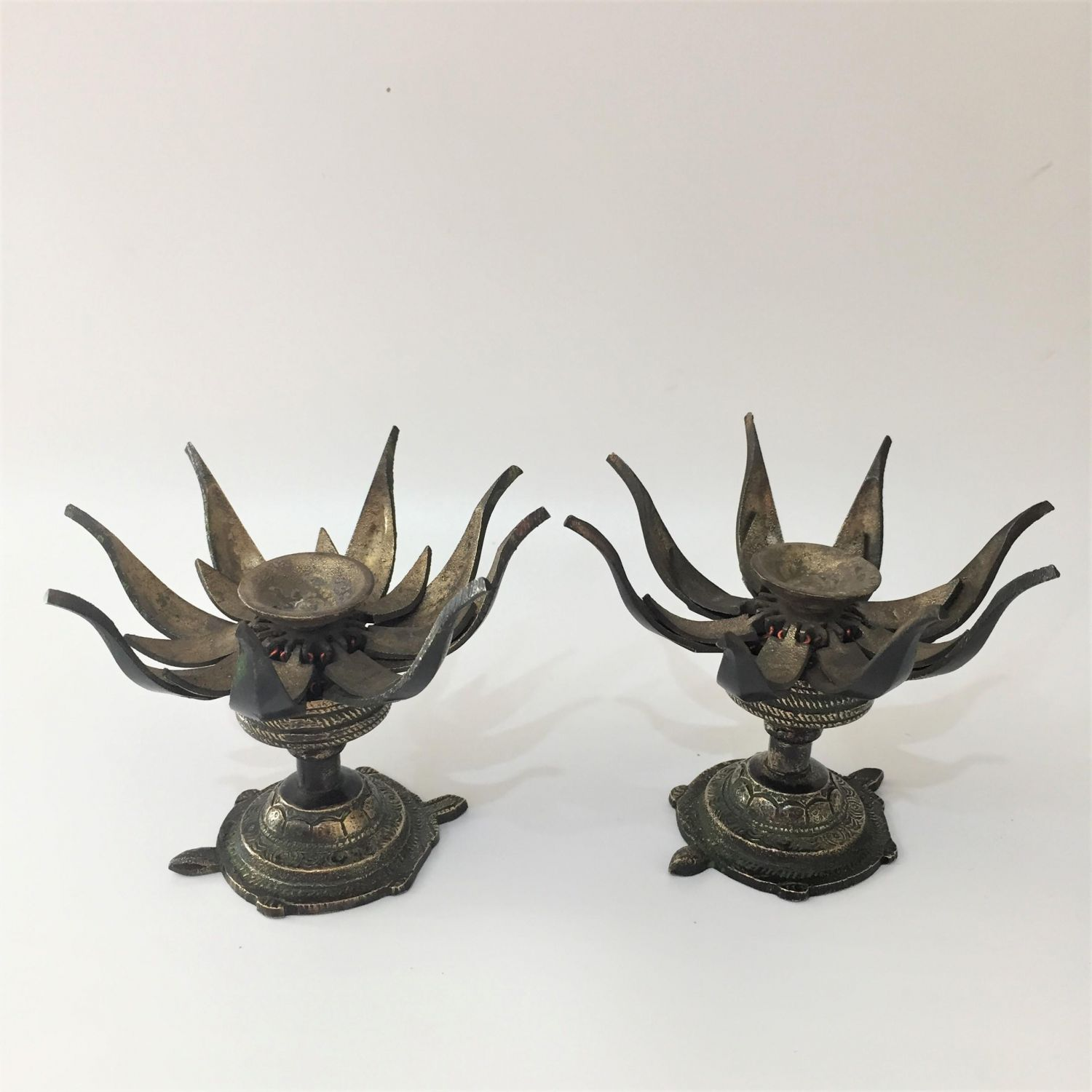 Pair Of Bronze Lotus Flower Incense Burners Oriental Antiques Hemswell Antique Centres