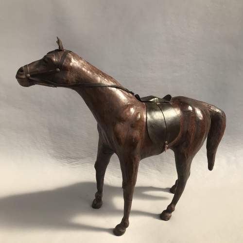 Mid 20th Century Model of a Dark Brown Leather Horse image-6