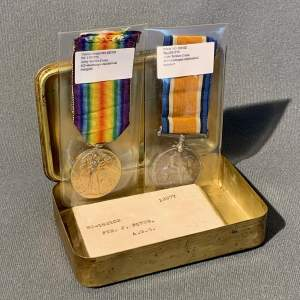 Pair of WWI Medals in Princess Mary Tin