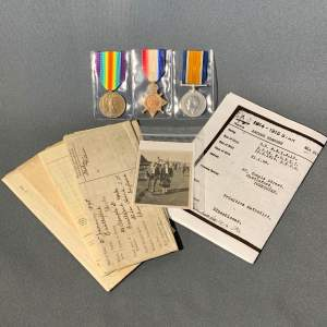 WWI Trio of Medals with Original Photo and Documents