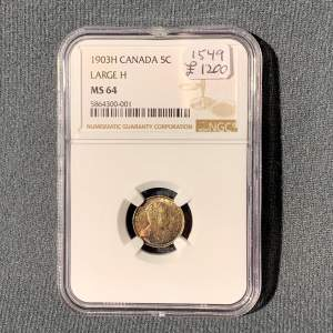 1903 Large H Canadian 5 Cent Sterling Coin