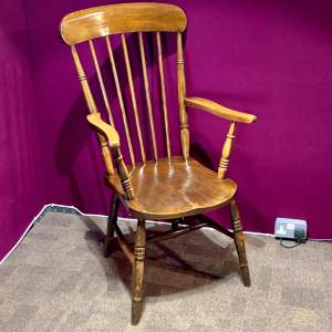 Victorian Oak and Elm Gentlemans Stick Back Armchair