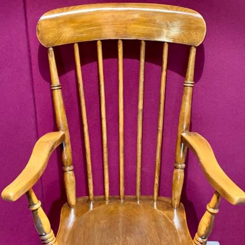 Victorian Oak and Elm Gentlemans Stick Back Armchair image-4