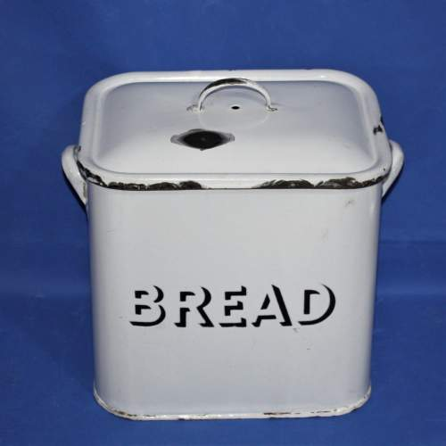 Good Quality Vintage White Enamel Bread Bin image-1
