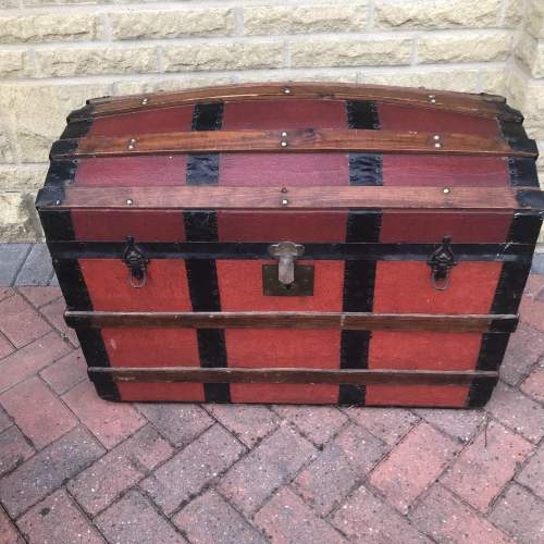 Domed Steel Banded Leather Chest image-2