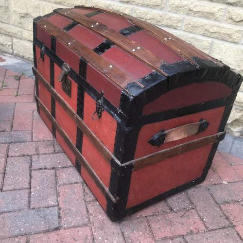 Domed Steel Banded Leather Chest image-1