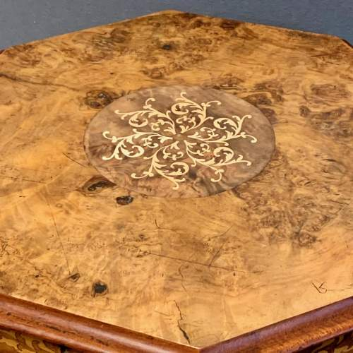 Victorian Walnut Sewing Box with Marquetry Inlay image-2