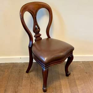 Victorian Balloon Back Chair with Leather Seat