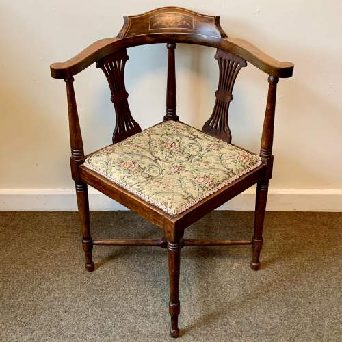 Edwardian Inlaid and Upholstered Corner Chair image-1