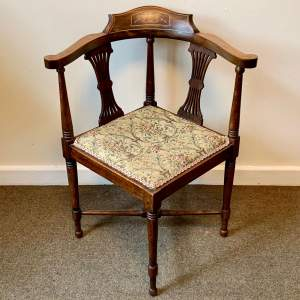 Edwardian Inlaid and Upholstered Corner Chair
