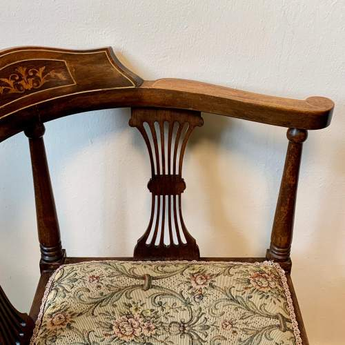 Edwardian Inlaid and Upholstered Corner Chair image-2