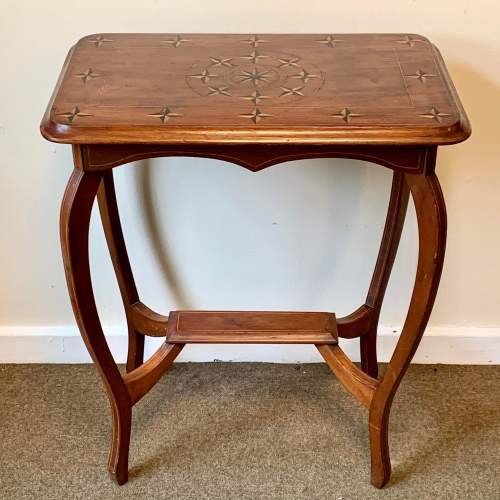 Edwardian Walnut Side Table Inlaid with Nautical Style Stars image-1