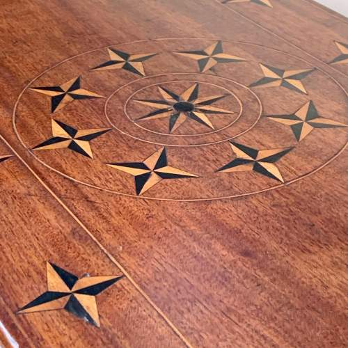 Edwardian Walnut Side Table Inlaid with Nautical Style Stars image-2