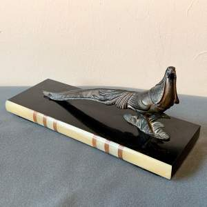 20th Century Metal Pheasant on an Onyx and Marble Base