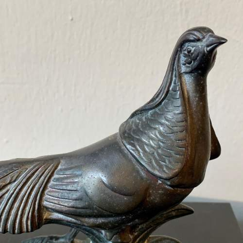 20th Century Metal Pheasant on an Onyx and Marble Base image-3