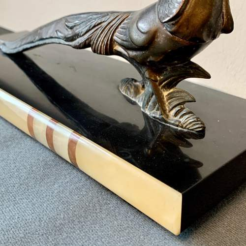 20th Century Metal Pheasant on an Onyx and Marble Base image-4