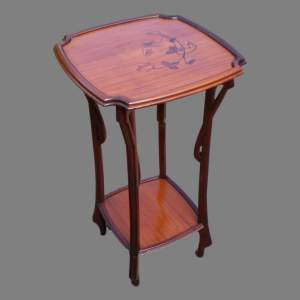 A French Art Nouveau Inlaid Plant Stand or Lamp Table
