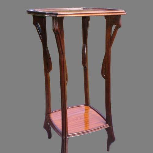 A French Art Nouveau Inlaid Plant Stand or Lamp Table image-3