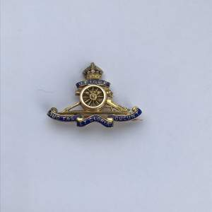 9ct Gold and Enamel WW1 Royal Artillery Sweetheart Brooch