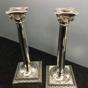 Pair of  William Hutton Silver Plated Candlesticks