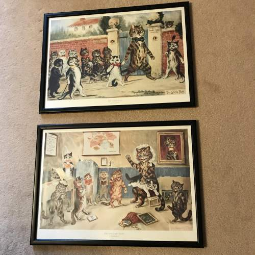 Pair of Early 20th Century Louis Wain Cat Prints image-1