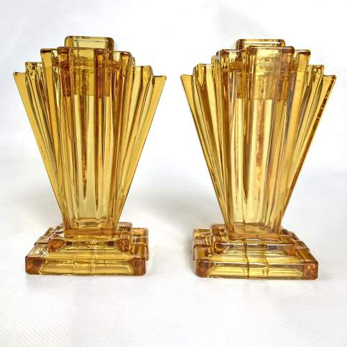 Art Deco Amber Crystaltynt Grantham Vases by Bagley and Co. image-1
