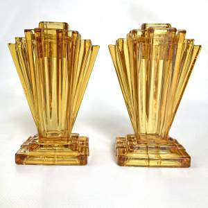 Art Deco Amber Crystaltynt Grantham Vases by Bagley and Co.