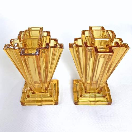 Art Deco Amber Crystaltynt Grantham Vases by Bagley and Co. image-2