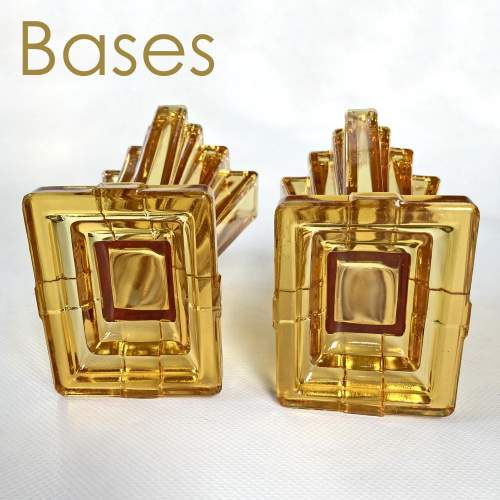 Art Deco Amber Crystaltynt Grantham Vases by Bagley and Co. image-5