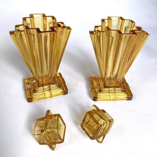 Art Deco Amber Crystaltynt Grantham Vases by Bagley and Co. image-3