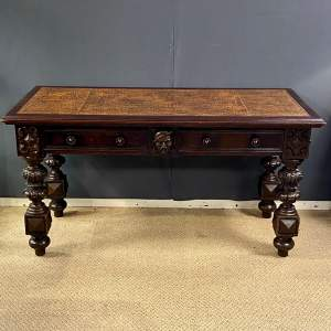 Victorian Carved Library Table
