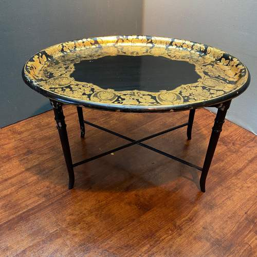 Large Oval Papier Mache Tray Table image-1