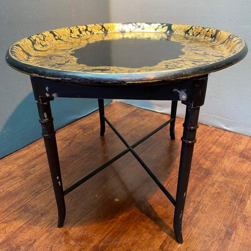 Large Oval Papier Mache Tray Table image-4