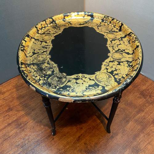 Large Oval Papier Mache Tray Table image-2